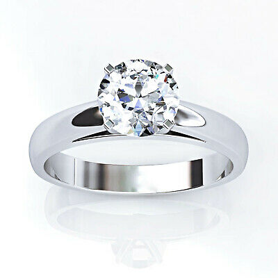 1 Ct Round Cut Diamond 14k White Gold Over Solitaire Engagement Ring For Women's