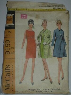 "VINTAGE ""McCALL'S "" DRESS PATTERN  9159 size 12 uncut   (#PT-20"