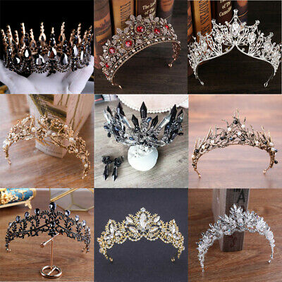 Antique Baroque Tiara Crown Black White Crystal Pearl Beads Pageant Wedding Prom
