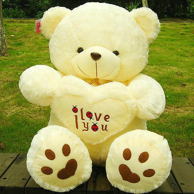 Giant Stuffed 50cm Love Teddy Bear Pillow Beige Plush Toy Doll Animal Child Gift