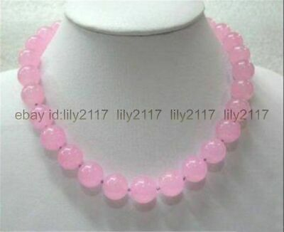 """Pretty Natural 8mm Pink Chalcedony Round Beads Gemstone Necklace 18"""" AAA"""