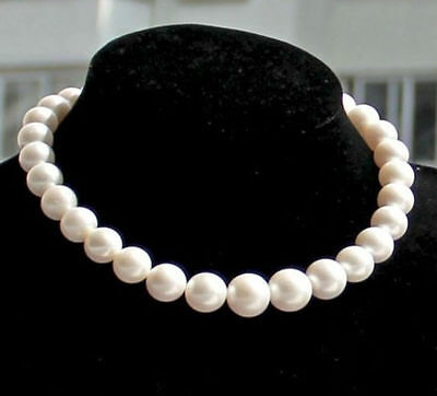 """charming AAA 18"""" 11-12mm real natural south sea white pearl necklace gold CLASP"""
