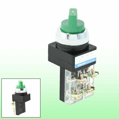Self-Locking 2-Position Green Selector Pushbutton Switch 1NO 1NC DPST 250VAC 6A