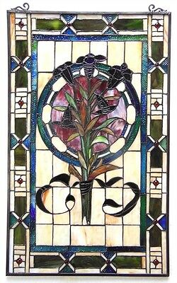 """Tiffany Style Tulip Design Stained Glass Window Panel  20"""" Wide x 32"""" Tall"""