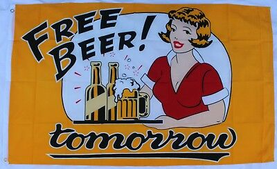 FREE BEER! tomorrow NOVELTY FLAG - New Huge 5x3ft for man cave/private bar/pub