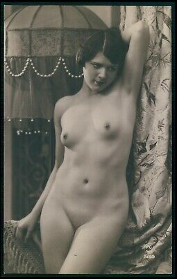 French full nude woman Art Deco flapper original cold 1920s photo postcard