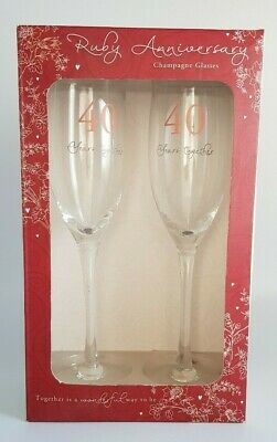 40th Ruby Anniversary Pair of 2 Champagne Glass Flutes in Gift Box