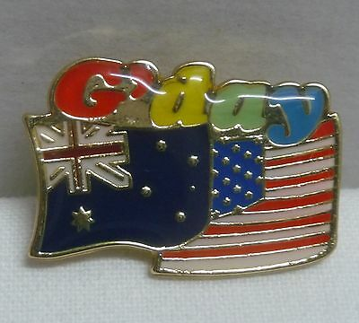 G'day AUSTRALIA USA FLAG PIN Hat Lapel aussie America suit/shirt badge friend