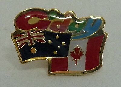 G'day AUSTRALIAN CANADIAN FLAG PIN Hat Lapel aussie Canada shirt badge friend
