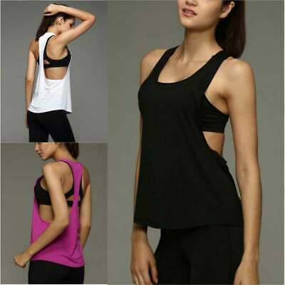 Women Sports Vest Fitness Running Gym Yoga Solid Tank Tops Singlet Loose T Shirt