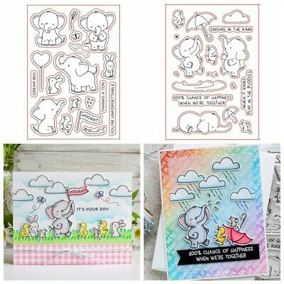 Elephant Play Friends Transparent Clear Silicone Stamp Set DIY Scrapbooking Card
