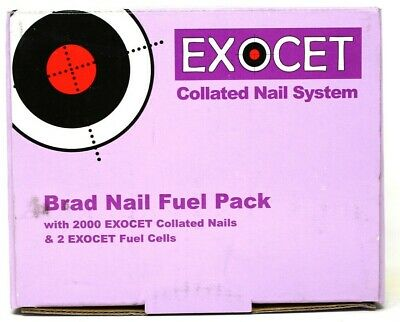 EXOCET 16G STRAIGHT BRAD NAIL FUEL PACK 16mm 19mm 25mm 32mm 64mm + 2 FUEL CELLS