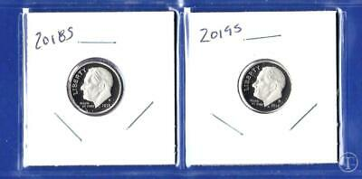 2018 S AND 2019 S Clad Proof Roosevelt Dime Set-Gem Proof-IN STOCK-2 Dimes