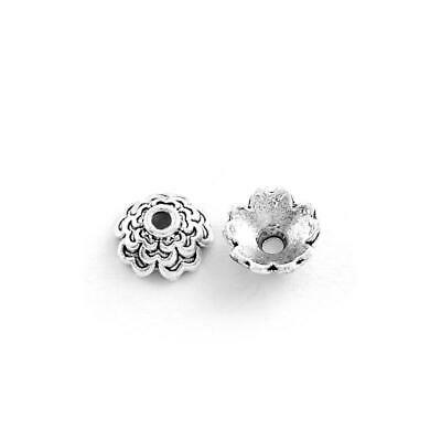 Flower Bead Caps Antique Silver Metal Alloy 3x7mm  200+ Pcs Findings Jewellery