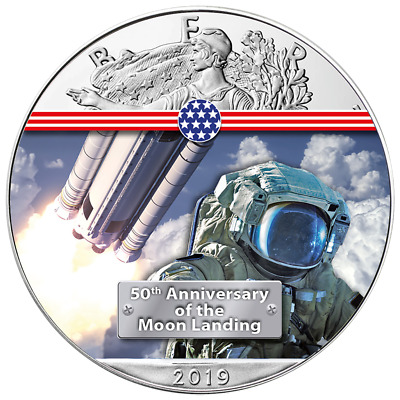 USA 1 Dollar 2019 Silver Eagle - Next Stop to the Moon (6.) 1 Oz Silber ST