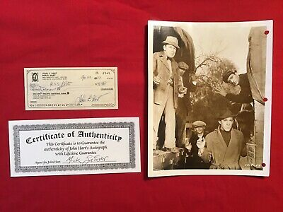 """Rare Vintage John Hart Anthony Quinn """"Tip Off Girls"""" Photo & Autographed Check"""