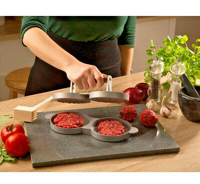 From Scratch Double Hamburger Press Non Stick Teflon Stuffed Patties Sliders New