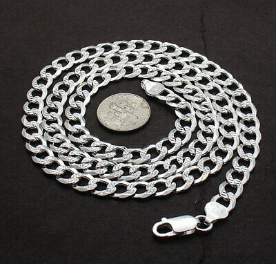 "24"" Reversible Diamond Cut Pave Cuban Curb Link Chain Necklace Real Solid Silver"