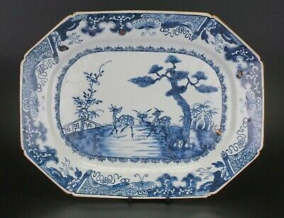 LARGE 35cm Chinese Blue and White Porcelain Meat Plate Deers & Pine Tree 18th C