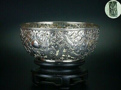 LARGE 19cm Chinese Solid Sterling Silver Dragon Bowl & Wooden Stand 19th C QING