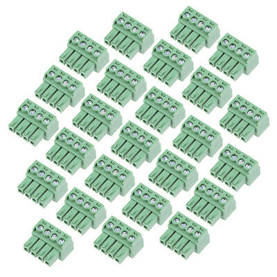 25Pcs AC 300V 8A 3.5mm Pitch 4P Flat Angle Needle Seat Insert-In PCB Terminal