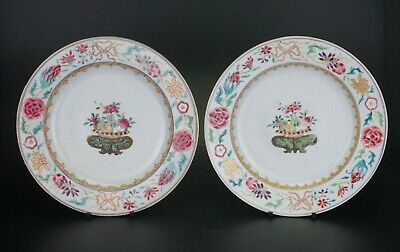 Pair Antique Chinese Famille Rose Porcelain Plate Relief Scrolls 18th C QING