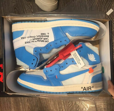 "609a03d14c2d OFF WHITE X Nike Air Jordan 1 ""UNC"" Blue Size 10 UK EU 45 US 11 ..."