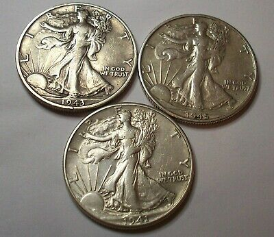 1945 S 1943 S 1941 3 High Grd Wwii Liberty Walking Half Dollars Silver Lot Coin