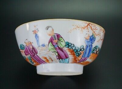 LARGE Antique Chinese Famille Rose Iron Red Porcelain Bowl QIANLONG 18th C