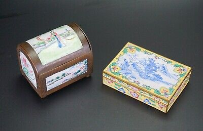 Two Antique Chinese Canton Enamel Jewellery and Card Box & Lid 19th C
