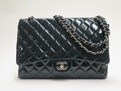 e8fa99afb1c1 Chanel Maxi Single Flap Bag Very Dark Teal Quilted Patent Leather Shoulder  Bag