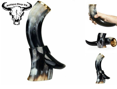 Ox Viking Drinking Horn With Horn Stand For Beer / Wine Gift Special Edition UK