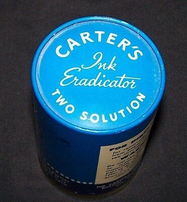 Vintage Carter's Ink Eradicator Two Solution-Complete W/Instructions-Boston-Pen