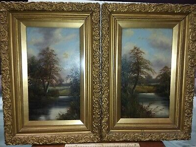Pair of 19th c Landscape Oil Paintings by R. Hulls Nice frames under glass