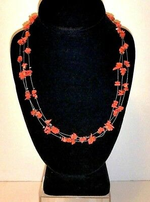 Natural Coral 3 Multi Strand Necklace on Silver - Tribal Boho Native
