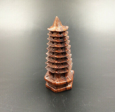Pagoda Sculpture Wooden Figurine Wood By Hand Carving Sandalwood Ornament