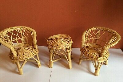 Vintage Doll Furniture Wicker Rattan Chairs And Table Barbie Sized
