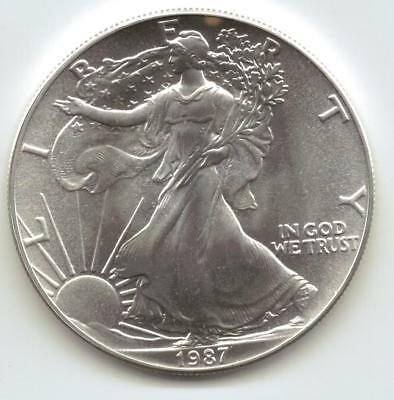 1987  Uncirculated American Silver Eagle  1-Troy oz. .999 Silver. Eagle is Clean