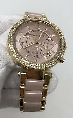 Michael Kors Parker Chronograph Gold Tone Pink Acetate Women's Watch MK6326 SD9