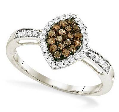 Chocolat Blanc Marquise Marronamp; 10k Or Grappe33ct Diamant Bague b7Yfy6vg