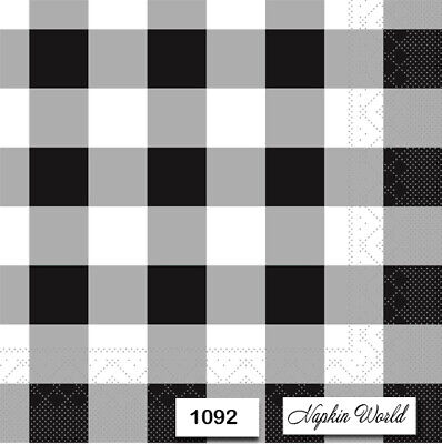 (1092) TWO Individual Paper Luncheon Decoupage Napkins - FARMHOUSE CHECKS B&W