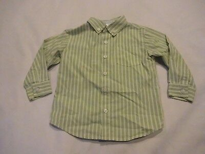 Boys Janie & Jack long sleeve button up dress shirt, size 2T, green striped