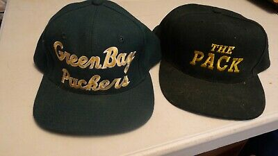 6b247097966e4a Vintage Lot of 2 Green Bay Packers NFL Baseball Hats Snapback The pack  starter