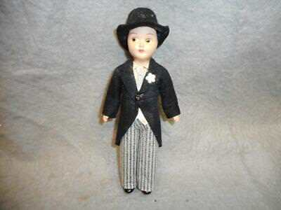 "Vintage Bridegroom Doll 7"" Doll Painted Eyes N/r"