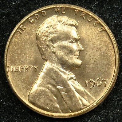 1967 Uncirculated Lincoln Memorial Cent Penny BU (B03)