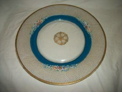 Antique Victorian HP Floral Gilt Aqua Glass Charger Plate Ornate Chic Shabby