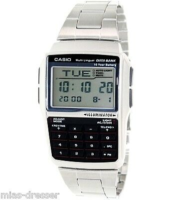 Casio DBC32D-1A Mens Stainless Steel Data Bank Calculator Watch Telememo 25 NEW