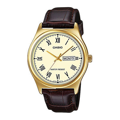 Casio MTPV006GL-9B Men's Analog GOLD-tone Watch BROWN Leather Band Day/Date NEW