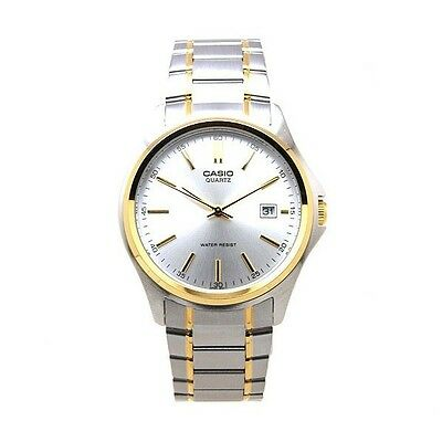 Casio Mens MTP1183G-7A Two-Tone Gold Stainless Steel Dress Watch Silver Dial NEW