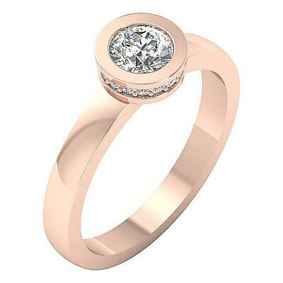 Solitaire Anniversary Natural Diamond Ring I1 G 0.70Ct Prong Bezel Set Rose Gold